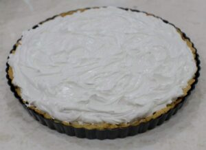 meringue covering the lemon pie