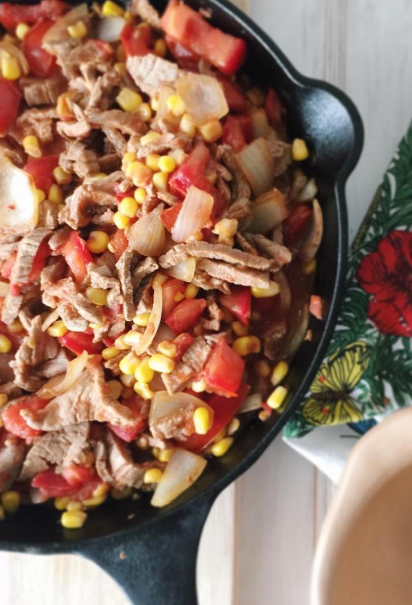 Chilean Tomatican: Corn, Tomato, and Beef Sautéed Dish