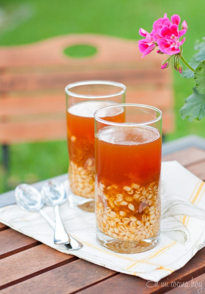 Wheat berries with dried peaches or Mote con huesillos, Chilean Recipe