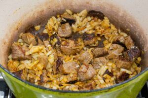 browning meat with onions