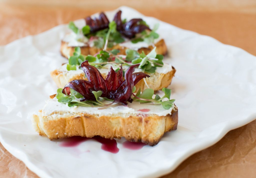 Hibiscus Flower Crostini