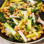 Sautéed leeks and chickpeas