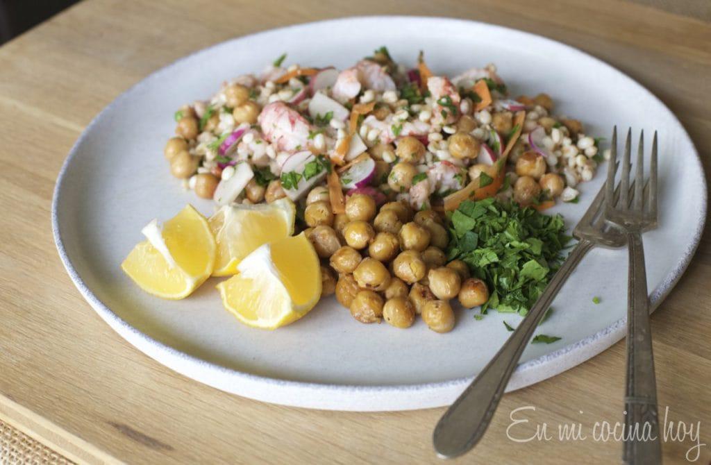 Langostino Tails Salad with farro