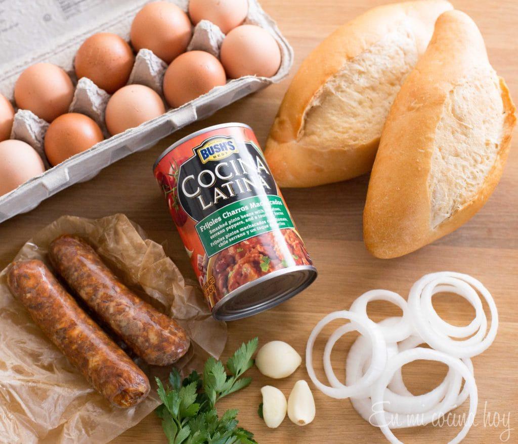 bolillo, eggs, chorizo
