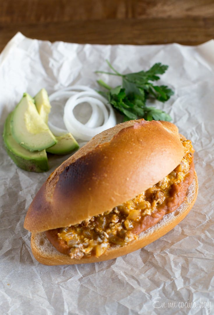 Mexican Torta With Eggs, Chorizo And Frijoles