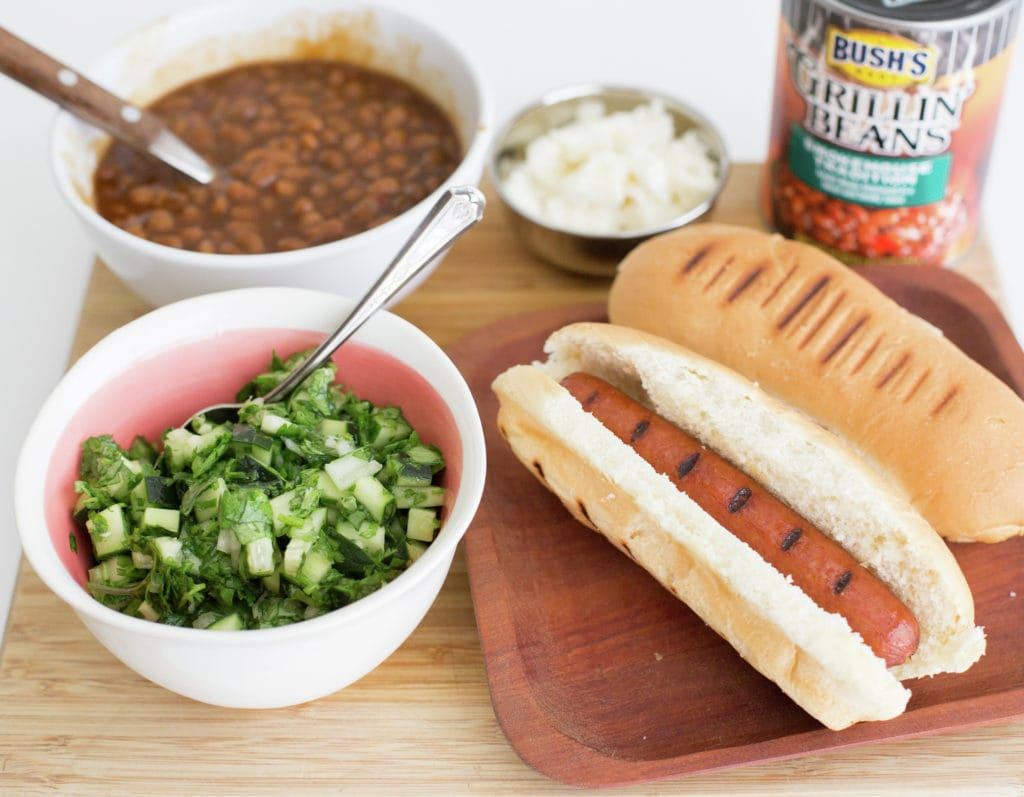 Chilean Green Pebre Sauce for Hot Dogs