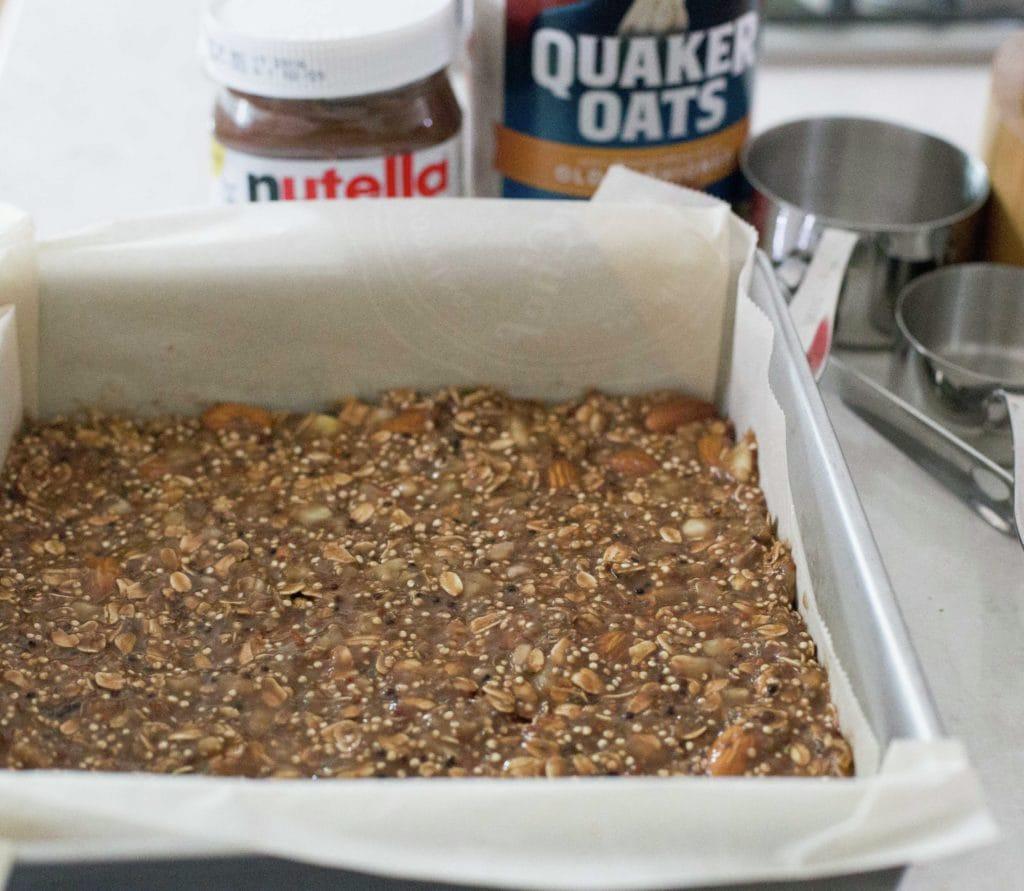 Barras de platano, quinoa y Nutella