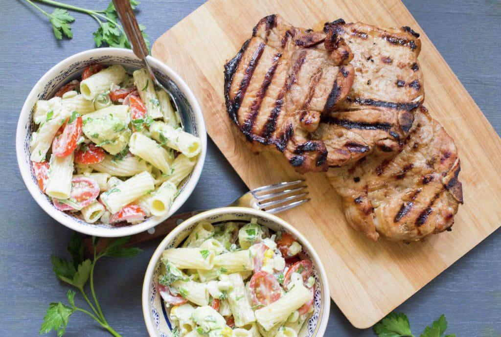 Pasta Salad with Avocado and Pork Chops