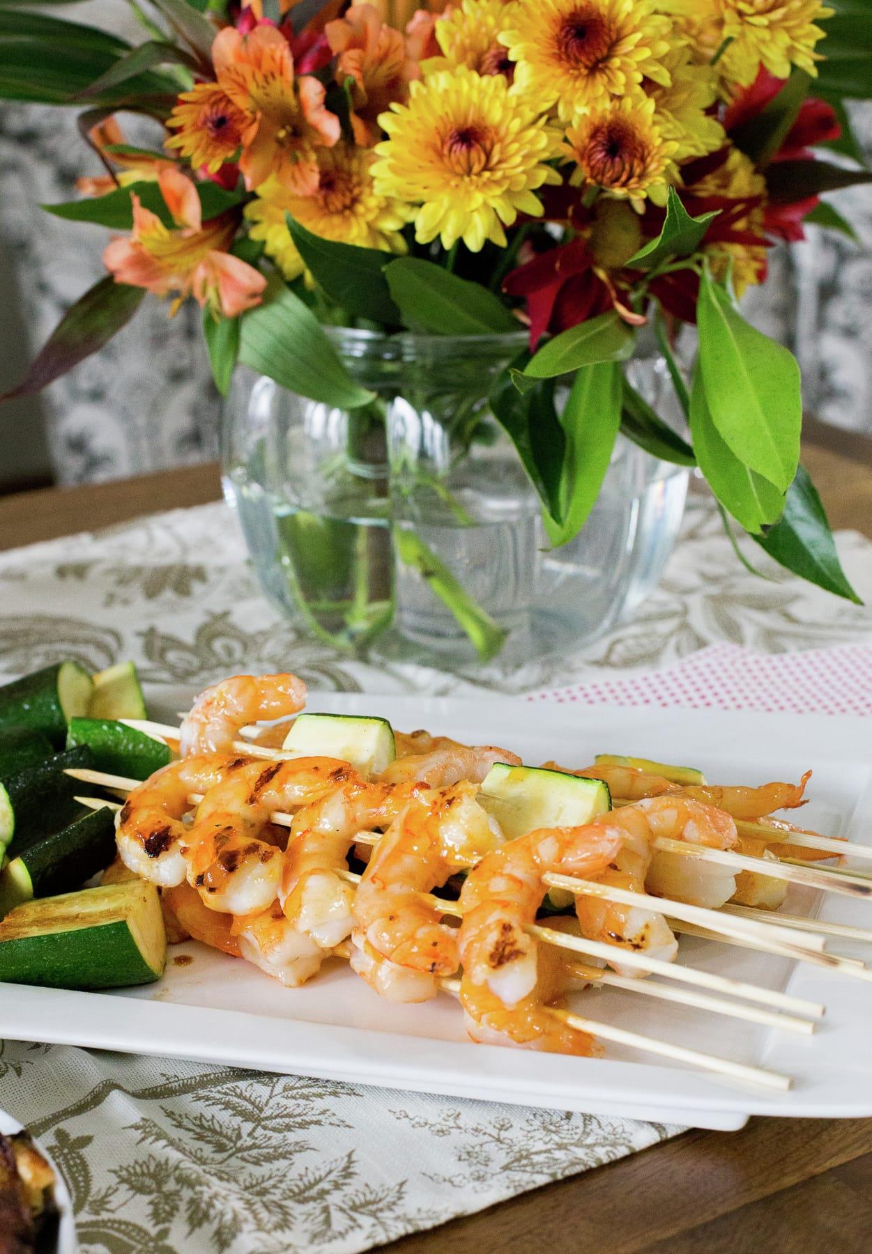 Pineapple Sriracha Shrimp Skewers