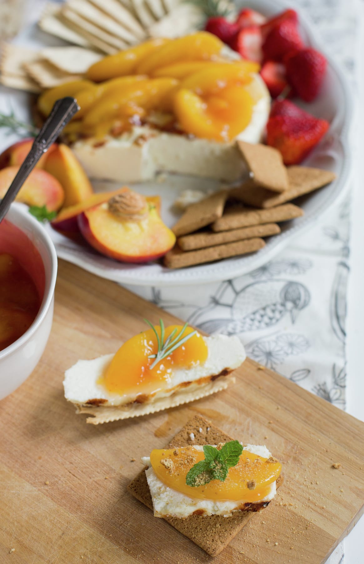 Grilled Queso Fresco with Peach Sauce