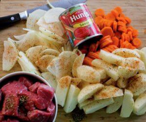 Ingredients for Chilean Estofado Beef Stew