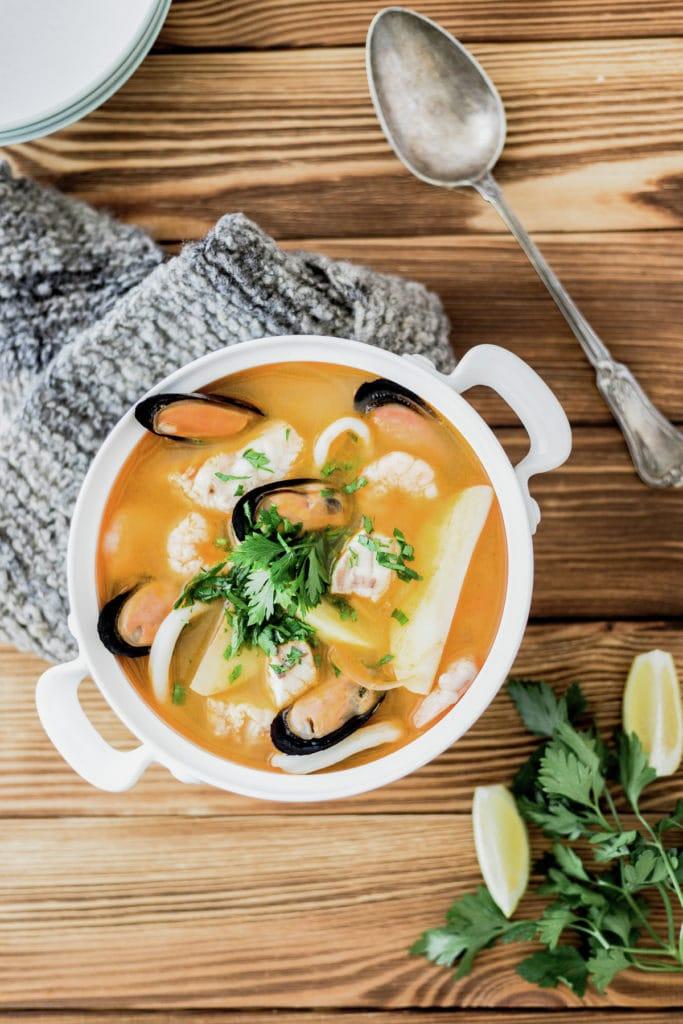 Chilean Seafood Soup, Caldillo de mariscos