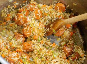 rice and chorizo in sofrito