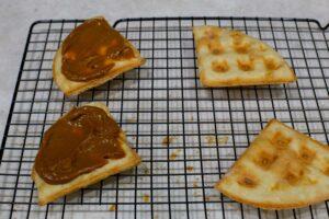 Cook waffles with dulce de leche